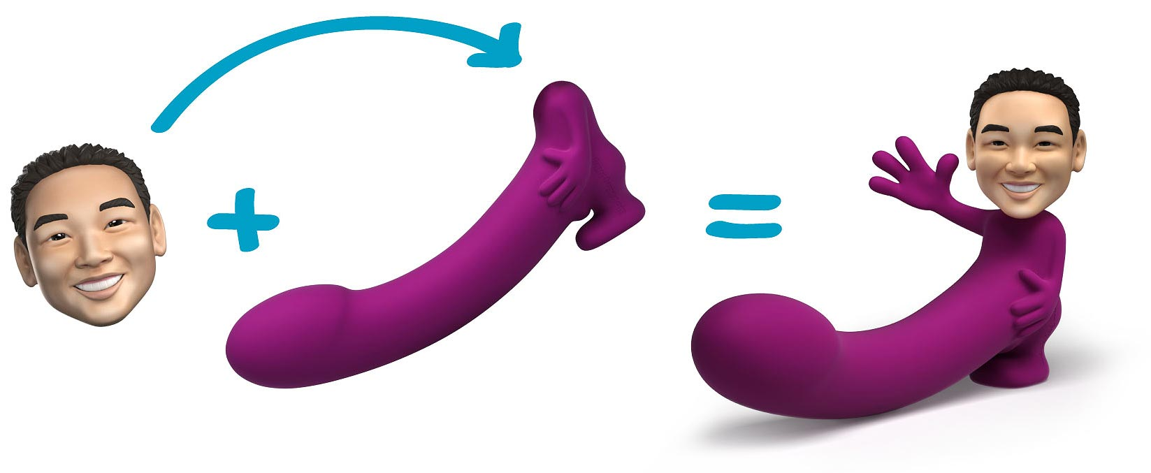 You can get a model of your partner's face at the end of your dildo
